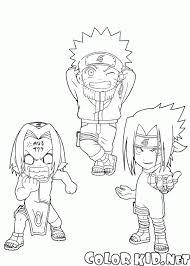 Small Picture Coloring page Naruto Sakura and Sasuke