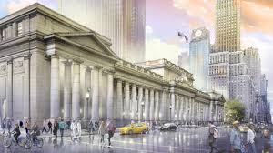 an ilration of the exterior of the proposed newly rebuilt penn station where madison square garden