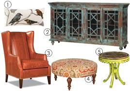 zamora sideboard from dovetail furniture 3 arm chair from huntington house furniture 4 olympic ottoman from king hickory 5 autumn furniture