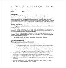director of marketing communications job description free pdf service director job description