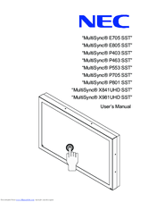 <b>Nec MultiSync P801 SST</b> Manuals
