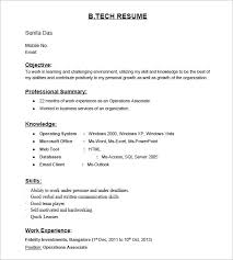 Resume Samples For Freshers Template Business