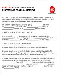 event agreement contract performance agreement contract sample 9 examples in word pdf