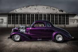 hot rod clic car purple clic retro street