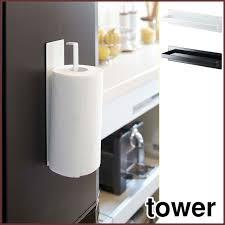 Kitchen towel holder Silver Tower Tower Magnet Kitchen Roll Holder White Yamazaki Yamazaki Businessman White Kitchen Towel Paper Towel Roll Rakuten Cookingclocca Tower Tower Magnet Kitchen Roll Holder White