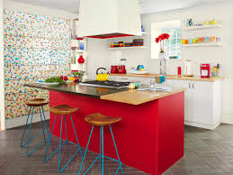 Red Floor Tiles Kitchen Kitchen Wood Kitchen Island With Glass Bar Stools Red Kitchen