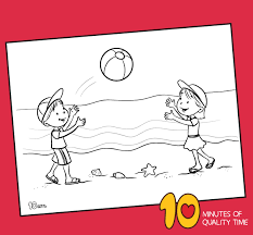 Beach coloring pages are a great way to get ready for the fun of summer. Kids Playing Ball On The Beach Coloring Page 10 Minutes Of Quality Time