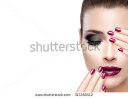 beauty and makeup concept fashion model woman with hands on face covering half mouth and