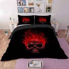 details about red flame skull quilt duvet cover gothic twin full queen king size bedding set