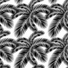Naadloze Kleur Palm Laat Patroon Vlakke Stijl Zwart Wit
