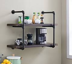 Amazon.com: Homissue 2-Shelf Rustic Pipe Shelving Unit, Vintage Industrial  Pipe Wall Shelf, Espresso-Brown: Kitchen & Dining