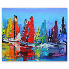 modern abstract sail boat canvas paintings whole for hotel decoration