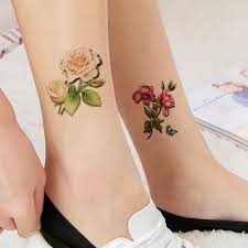 Amazoncom Tafly White And Red Rose Flower Temporary Tattoo