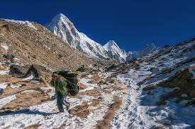 a journey to mount everest base the planet d a sunny day on the way to mount everest base camp