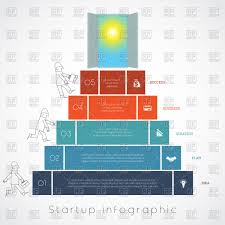 Startup Timeline Template Infographics For Business Success Startup Businessman Steps Up Ladders And Doorway Sky And Sun Template Five Positions Possible To Use For
