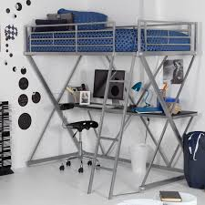 glossy grey metal bunk bed with desk underneath added by black swivel chair plus dvd rack also blue bedding set for boys