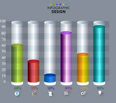 Infographic Template Round Bars Chart Colorful 3d Decor Free