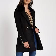 river island faux fur collar swing coat womens black 7byrd6fwtj