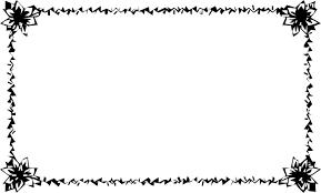 花のイラストフリー素材フレーム枠no009白黒切り絵風