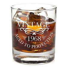 1968 50th birthday lowball whiskey gl for men and women vine aged to perfection