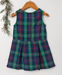 Beebay Size Chart Buy Beebay Sleeveless Checked Frock Green Blue For Girls