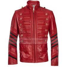 mens military red leather biker jacket zoom mens