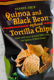 quinoa and black bean infused tortilla chips w chunky salsa