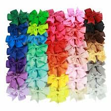 "<b>40 Pcs</b> 3"" Grosgrain Ribbon <b>Pinwheel</b> Boutique <b>Hair</b> Bows Clips For ..."