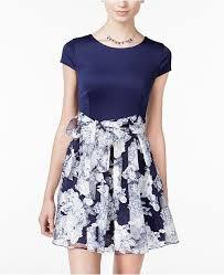 B Darlin Dress Size Chart Juniors Belted Floral Print Fit Flare Dress