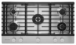 kitchenaid 36 5 burner gas cooktop with griddle stainless steel