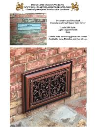 decorative foundation vent cover in louis xiv style in copper finish