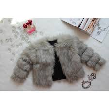 EXCLUSIVE FAUX FUR COAT FOX GREY 2T-3T faux fur coat vest children kids girls outerwear jacket black handmade