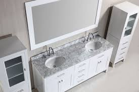 72 london double sink vanity set in white with two matching linen cabinet in white