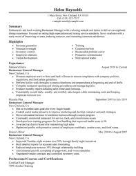 resume for restaurant best restaurant manager resume example livecareer