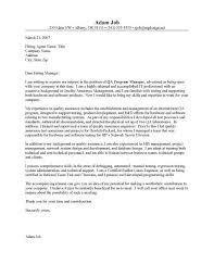 Cover Letter For Quality Control Job Eursto Com
