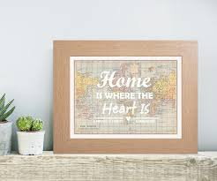 personalised coloured typography home is where the heart is map print unique housewarming gift