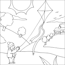 Small Picture Kite Colouring Page