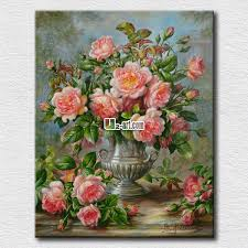 classical pot and flowers oil painting to flowers canvas prints high quality ink printing for wall
