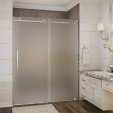 frosted shower doors. Completely Frameless Sliding Shower Door With Frosted Glass In Brushed Stainless Steel-SDR976F-SS-60-10 - The Home Depot Doors T