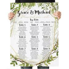 Wedding Seating Chart Wedding Table Plan Green Gold