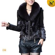 women s designer mink leather jackets with fox fur collar cw676417