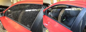 aftermarket glass window replacements red car before photo shows completely shattered front side door window after photo has new