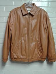 mens preston and york brown size 8 polyester leather jacket