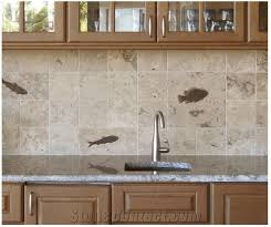 honed fossil stone relief tile backsplashes beige limestone kitchen accessories