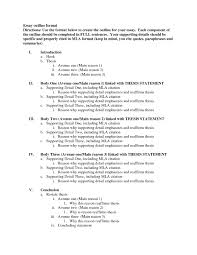 Example Of An Essay Outline Format Mla Sample Paper Sample Essay