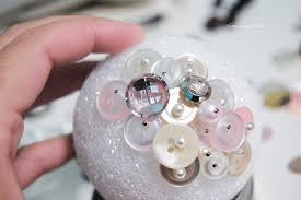 How To Decorate Styrofoam Balls cover styrofoam ball with buttons The Ornament Girl 33