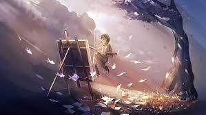Anime Girl Doing Painting Magical 4k ...