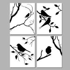 birds of a feather wall art quad set of four 8x10 coordinating nature prints choose your colors shown in black and white on bird silhouette wall art with the 31 best moss grafitti images on pinterest silhouettes birds