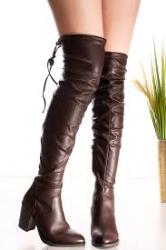 brown faux leather lycra over the knee chunky heel boots
