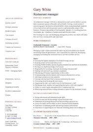 Resume Restaurant Manager Restaurant Manager Cv Sample